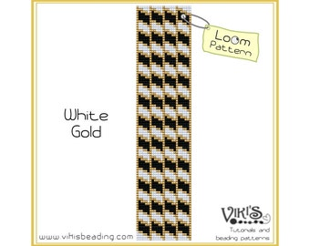 Loom Pattern for Bracelet: White Gold - INSTANT DOWNLOAD pdf - Save with our coupon codes