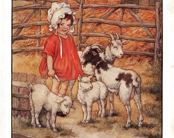 Little Girl with Lambs and Goats - Clara M Burd Vintage Book Print 1920's Original 9-1/4 x 11-1/2 Perfect for Framing No Text on Back