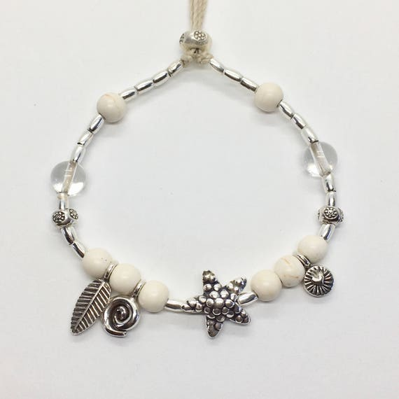 silver hill tribe bracelet, starfish boho jewelry