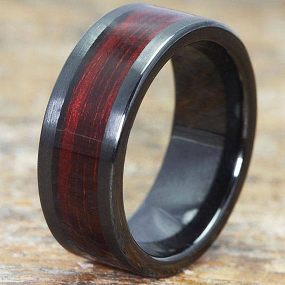 Black Zirconium Redwood Inlay Ring 9mm Comfort Fit Mens