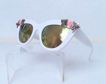 Cat Eye Sunglasses with butterflies