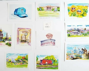 """Greetings from Kansas City Landmarks Set of 9 postcards 5""""x7"""" from original watercolor paintings created by Liz Vargas Art gifts under 50"""
