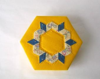 Box jewelry stylish yellow fabric handmade keepsake