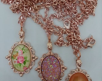 Rose Gold Cabochon Necklace