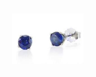 Sapphire Stud Earrings, 14K White Gold Blue Sapphire Stud Earrings .75ct - 4mm Round - September Birthstone - Screw Backs Optional - Gift