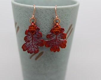 Iridescent Copper Lacey Oak Leaf Earrings