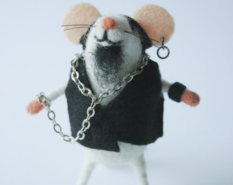 Felt rocker mouse, Felted artisan mouse, Collectible toy,  Felt mice figure, Punk, Mouse miniature, Mouse stuffed plush mice