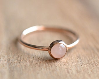 Rose Quartz RIng // Rose Gold Rose Quartz Ring // Rose Gold Ring // Rose Quartz Stacking Ring // 14K Rose Gold Filled Rose Quartz Ring