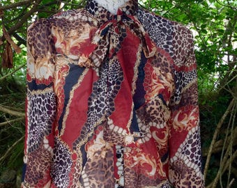 Vibrant lightweight semi sheer vintage blouse