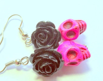 Pink and Black Day of the Dead Roses and Sugar Skull Earrings