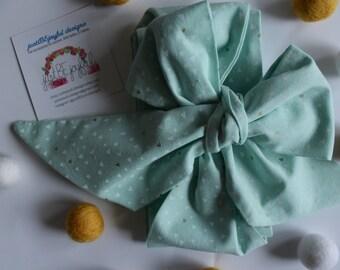 Wide Mint Green with Mini-Triangles Headwrap - Headband - Turban - Topknot Headband - Bow Headband - Big Bow Headwrap - Adult Headwrap