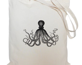 Tote bag/ drawstring bag/ cotton bag/ material shopping bag/ octopus/ sea life/ nautical/ market bag