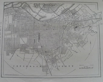 Louisville Map,Louisville City Map,Louisville Kentucky City Map,USA City Map,Street Map Wall Art,Place on the World Map,1918-1920 8x11 VS19