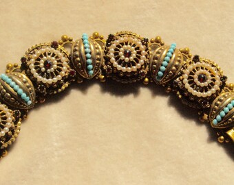 Funky Faux Garnet, Pearl and Turquoise Bracelet