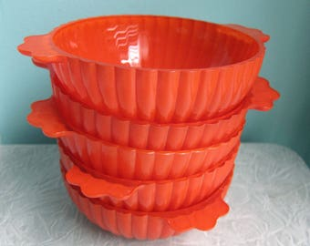 Vintage Orange Bowls, Orange Halloween Candy Bowls, Orange Scalloped Glass Bowls, Orange Ice Cream Bowls, Hazel Atlas, Orange Candy Dishes