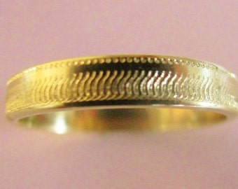 Reptile Texture Wedding Band 4mm Wide 14K Gold