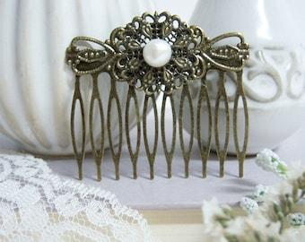 Decorative Hair Comb/Fresh Water Pearl  Hair Comb/Vintage Hair Comb/ Hair Comb With Pearl/Large Vintage Hair Comb/Bridal Pearl Hair Comb/