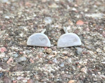 Silver half moon stud earrings, moon studs, moon earrings, silver moon stud earrings