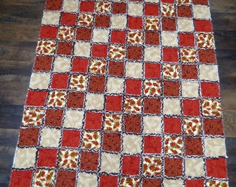 Earth Colors Rag Quilt Throw 50x60 Inches