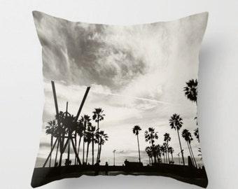 Venice Beach pillow cover, black gray pillow, palm tree bedding, boys room, California home decor, 18x18 cover, Los Angeles art