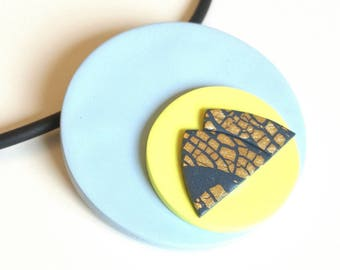 Gemini pendant, yellow and blue necklace, star sign gifts