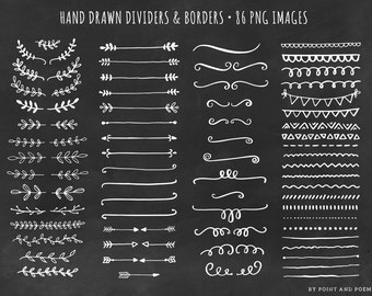 Dividers Borders Clip Art - Laurels Arrows - Hand Drawn Chalkboard Doodle Clipart 86 png images - Commercial Use