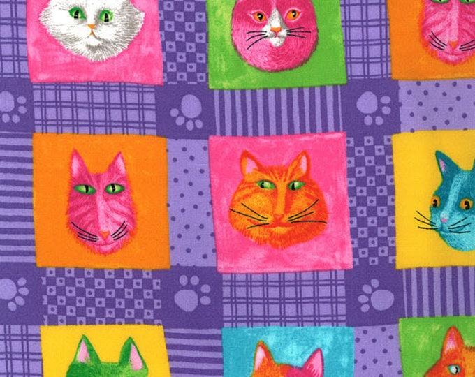 PRISMA CATS - Cat Blocks in Purple - Cute Adorable Kitty Cotton Quilt Fabric - Moda Fabrics - 23112-14 (W3919)