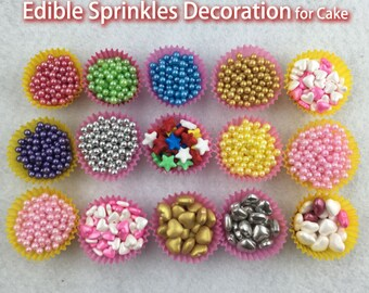 Cake Edible Decoration,20g Sprinkles heart, Golden Sliver,Jimmie Colorful Decorating for Cup Cake, Dessert, Ice cream, Donuts