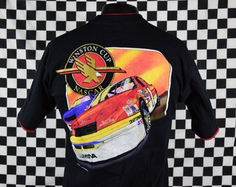 Vintage NASCAR tshirt / 90s Winston Cup Nascar Racing / Roll up sleeves / Pocket tee / Black / Chevy Lumina / Black / Fits like a Medium