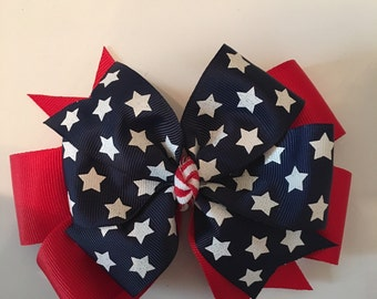 Fourth of July Hair Bow, July 4th Hair Bow, Patriotic Hair Bow, USA Hair Bow, Sparkly Stars and Stripes Bow, Red White Blue Bow, Summer Bows