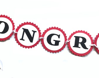 Congratulatons Banner - Red, White, Black or Your Choice of Colors