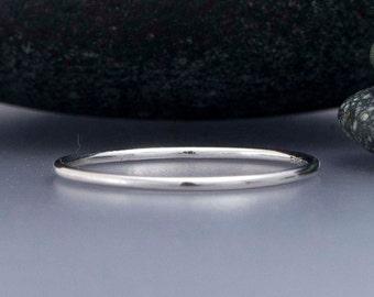 Thin Platinum Wedding Band - 1mm Round Stacking Ring