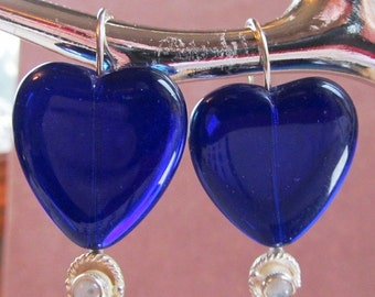 Cobalt Glass and Moonstone Cabochon Sterling Silver Stacker Earrings