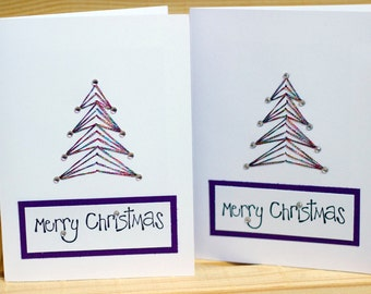 Hand Embroidered Tree with Rhinestone Christmas Card (set of 10)