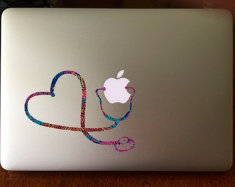 Lilly Pulitzer Inspired Stethoscope Mac Decal