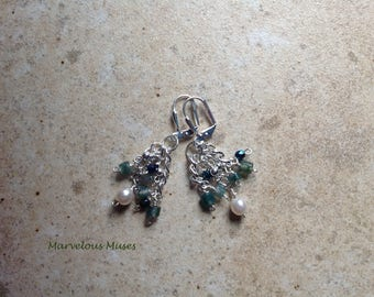 Lovely silver cluster earrings with Moss Agate, Crystals and Pearls