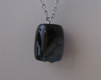 Agate Druzy Barrel Bead Pendant Necklace