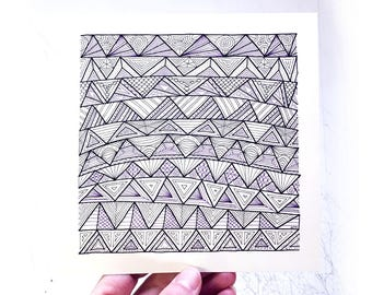 "Hand Drawn Abstract Pattern Artwork, Beach Art, Waves, Pen and Ink, Optical Illusion Artwork, Modern Art - ""Sunny's Waves"""