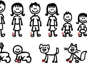 Set of 8 Stick Figure Family Car Decal, car family stickers, Stick Family,