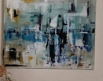 "Large abstract acrylic painting titled ""Illusion"" painted on cotton canvas"