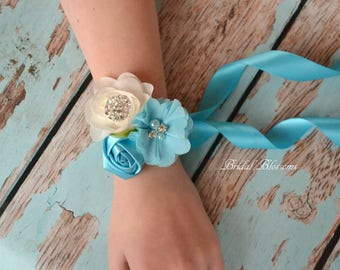 Turquosie Ivory Chiffon Satin Flower Wrist Corsage | Vintage Inspired Wedding | Boutonniere Set | Prom Homecoming Flowers Bout Blue Cream