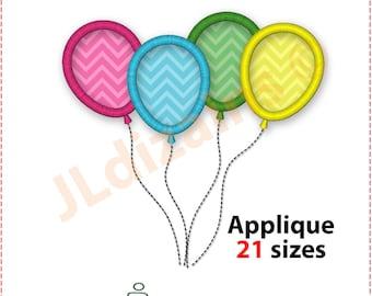 Balloons Embroidery Design. Balloons applique embroidery design. Balloon embroidery applique. Applique balloons. Machine embroidery design.