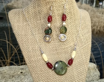 Dragons Blood Jasper Necklace & Earring set