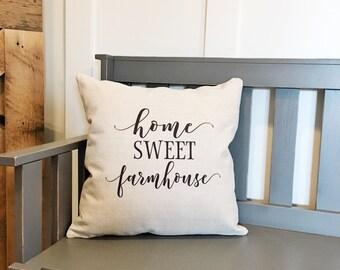 Farmhouse Decor Home Sweet Farmhouse Pillow Cover - Decorative Pillow Cover - Farmhouse Pillows - Rustic Decor Decorative Throw Pillows