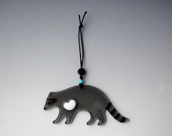 Glass Raccoon Ornament-Heart-Gray-White-Totem Animal for Family Protection-Turquoise-Grey-Woodland Creature-Critter-Cool-LOVE