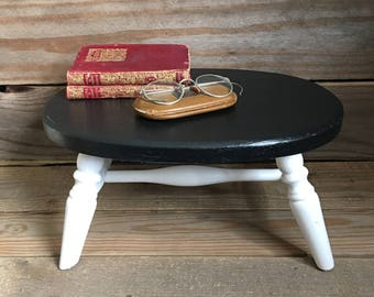 Vintage Footstool - Newly Painted - Wooden Footstool - Black and White Footstool - Vintage Furniture