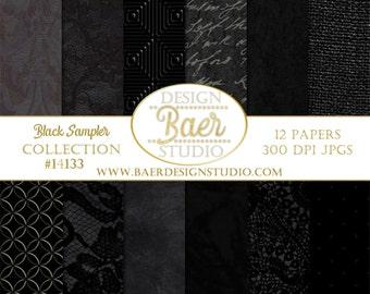 BLACK DIGITAL PAPER:Textured Digital Paper, Black Digital Background Paper, Graduation Digital Paper, 12x12 digital paper, #14133