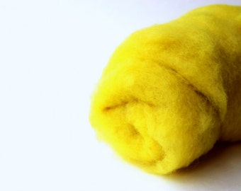 Needle felting wool, 1 oz, sun - bright yellow.  Yellow wool. Maori wool blend of coopworth and corriedale. Needle felting supplies. Batts.