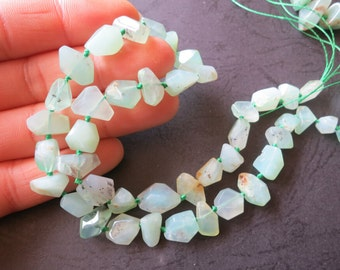 As Pictured- Mint Green Chrysoprase Nugget Beads 5x6x8mm 7x8x13mm - 42pcs