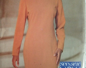 Misses Misses Petite Dress Size 6-8-10 See & Sew by Butterick Vintage 1994 UNCUT Pattern Rated EASY to Sew.